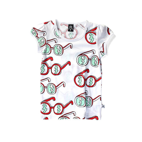 LITTLEHORN Sunglasses Girl's Tee / White