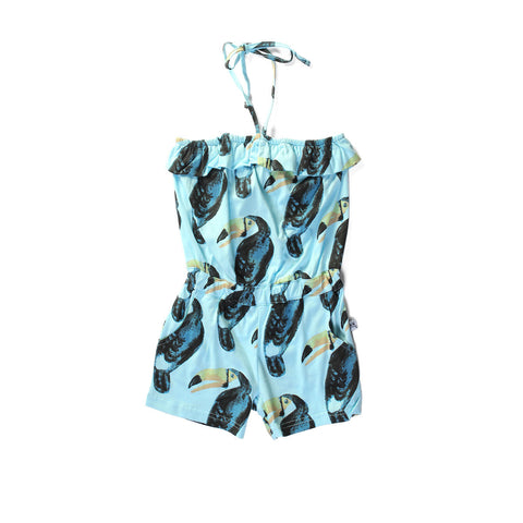 LITTLEHORN Toucan Party Girl's Playsuit / Sky Blue