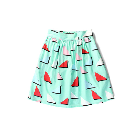 LITTLEHORN Triangles Girl's Skirt / Mint