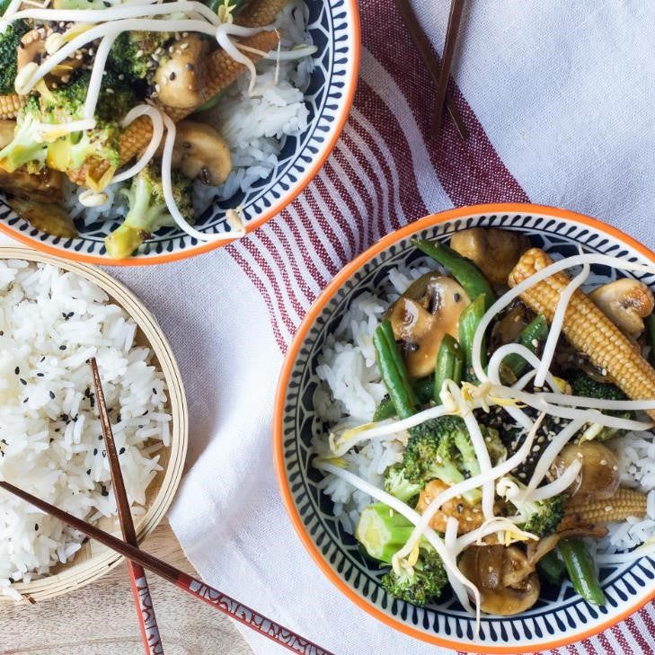 Broccoli & Mushroom Stir-Fry & Black Bean Sauce With Baby Corn, Carrots & Jasmine Rice