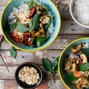 Chilli Basil Stir-Fry With Vegetables, Holy Basil & Jasmine Rice