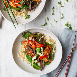 Chilli Beef & Shallot Stir-fry With Capsicum, Snow Pea, Carrot & Cauliflower Rice
