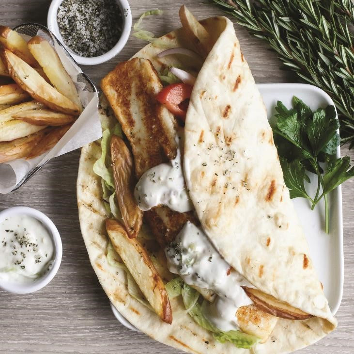 Grilled Haloumi Pita Gyros  With Garden Salad, Tzatziki & Oven Baked Herb Salted Fries
