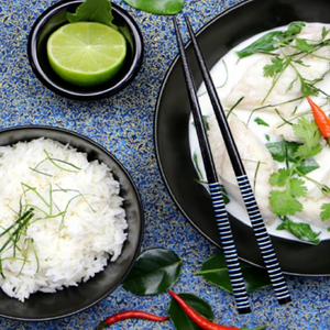 Kaffir, Ginger & Coconut Poached Fish With Steamed Rice, Seasonal Vegetables & Chinese Broccoli