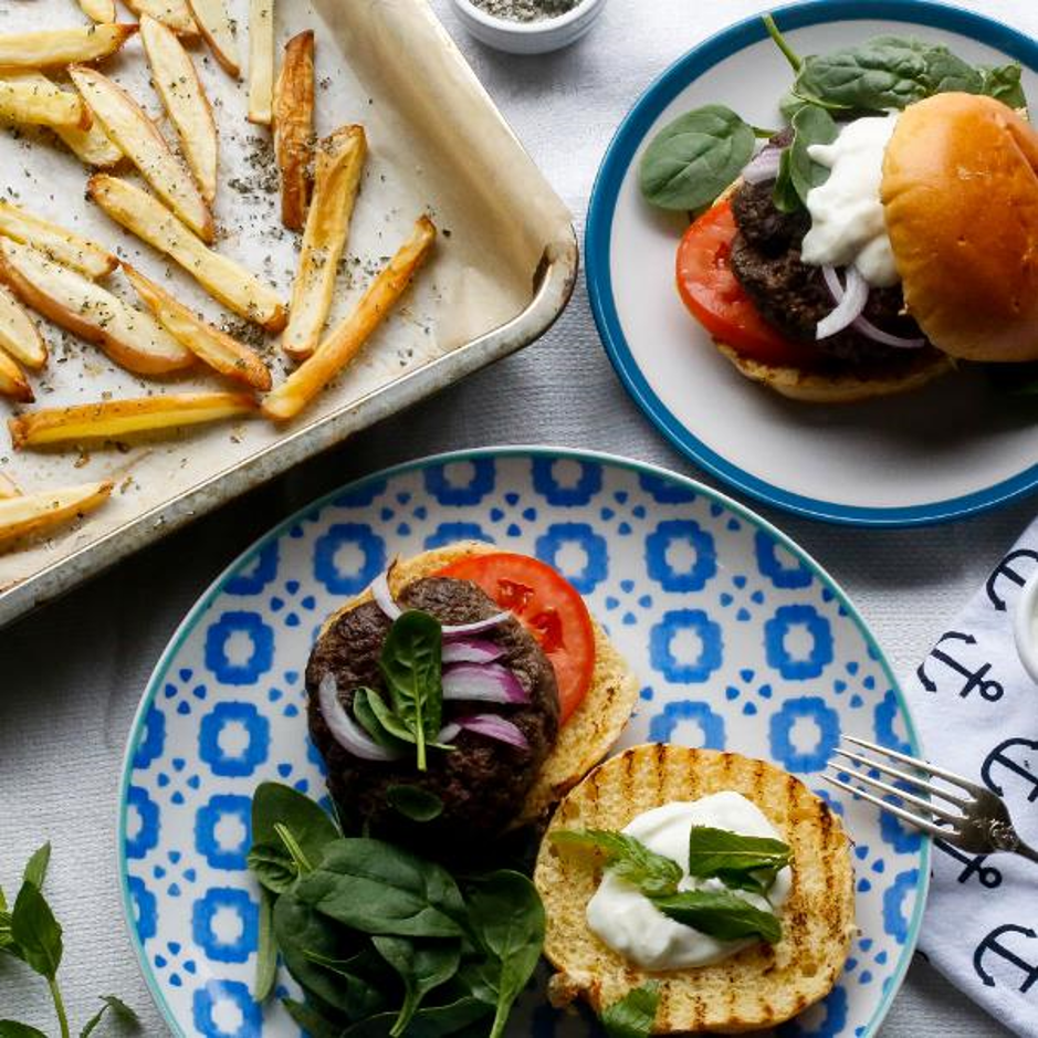 Lamb & Tzatziki Burger With Tomato, Spinach & Rosemary Salted Fries