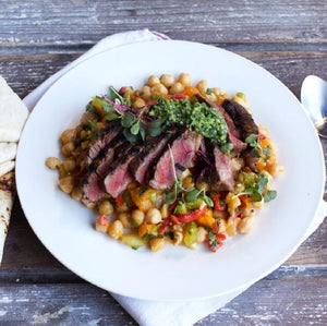 Oven Roasted Lamb & Gremolata With Chickpea, Capsicum & Herb Salad