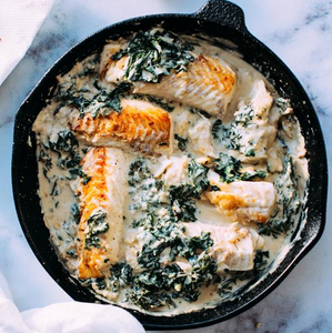 Pan Seared Boneless Fish Fillets With Black Pepper, Spinach Cream Sauce & Steamed Rice