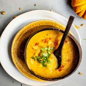 Pumpkin & Sweet Potato Soup With Paprika, Ginger, Nutmeg & Cheesy Garliky Toscana Toasts