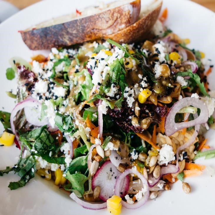 Summer Brown Rice & Vegetable Salad With Crumbled Feta & Citrus Vinaigrette Dressing