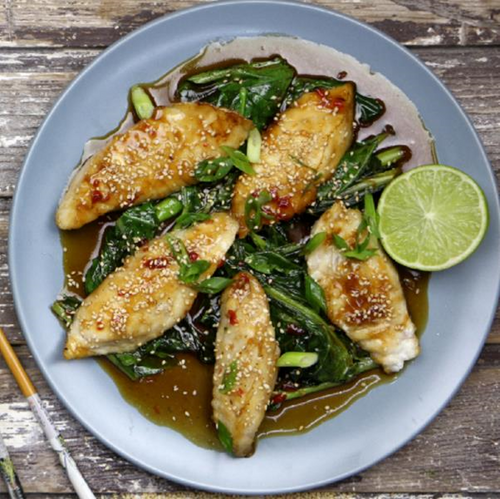 Sweet Chilli Soy Fish & Chinese Broccoli With Seasonal Vegetables, Toasted Sesame & Brown Rice