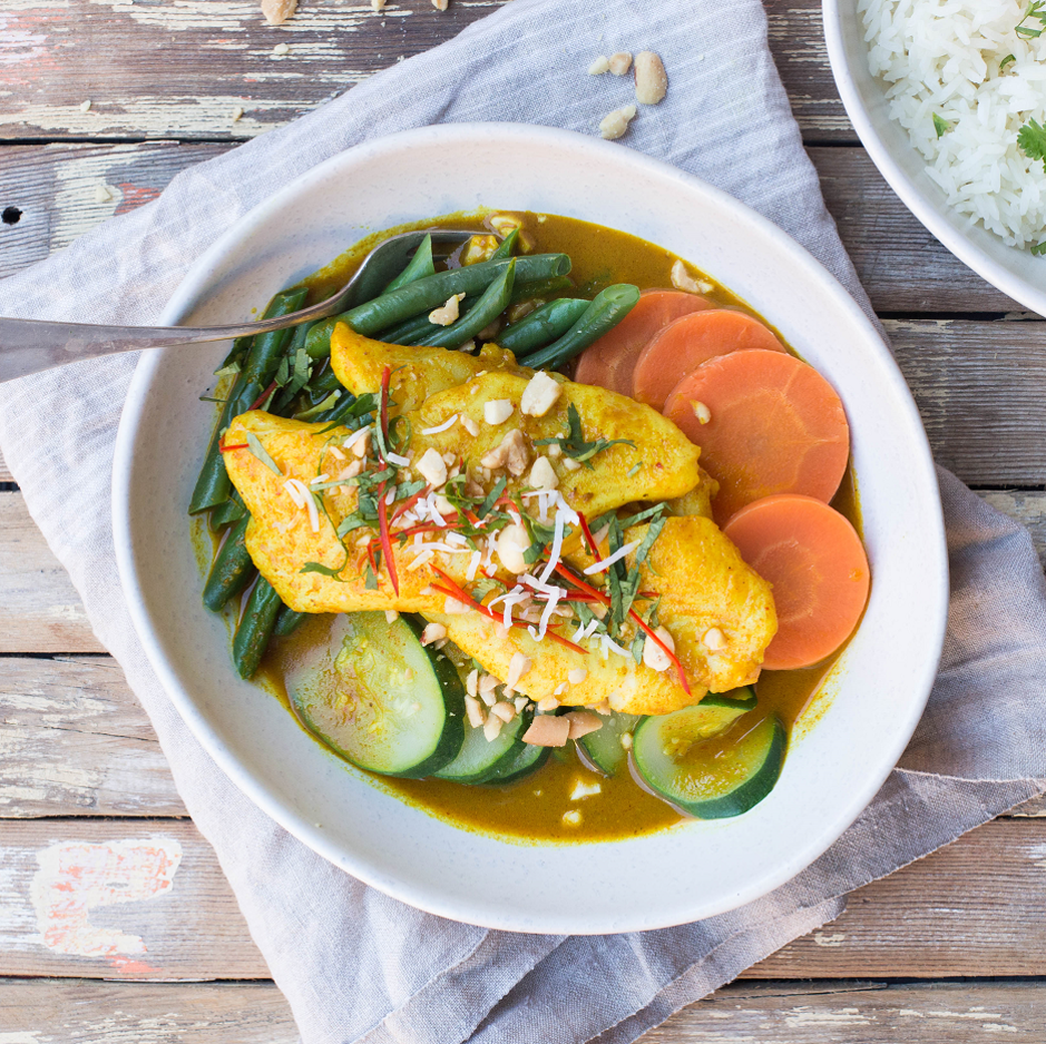 Thai Yellow Curry Poached White Fish