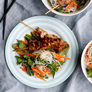 Thai Style Chicken Skewers With Glass Noodles & Vegetable Salad