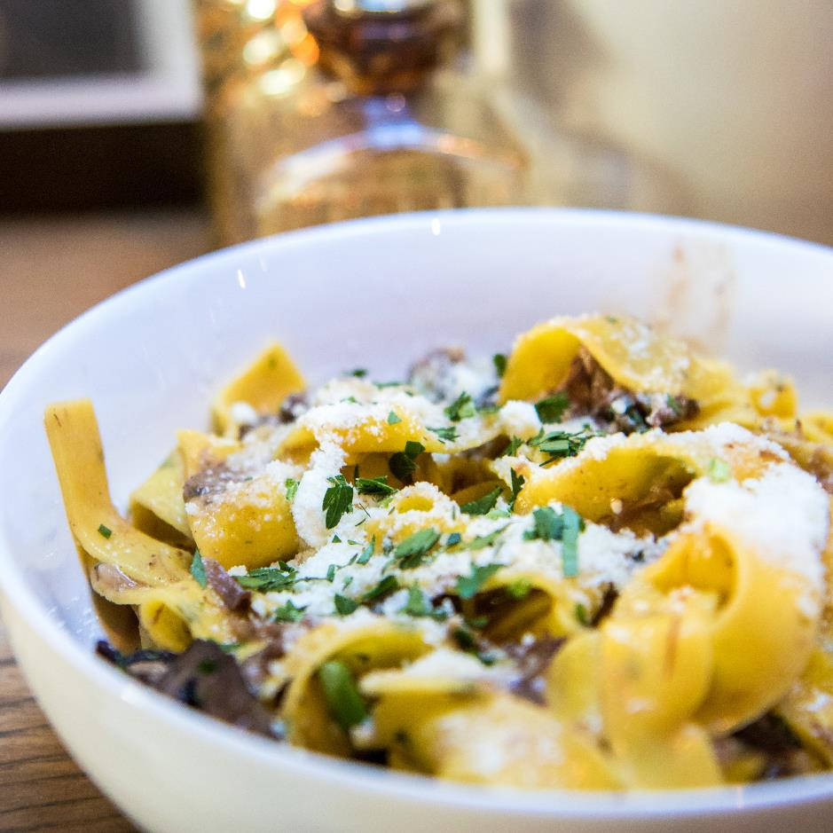 Wild Exotic Mushroom Pappardelle Pasta With Shallot, Parmesan & Thyme Butter Sauce