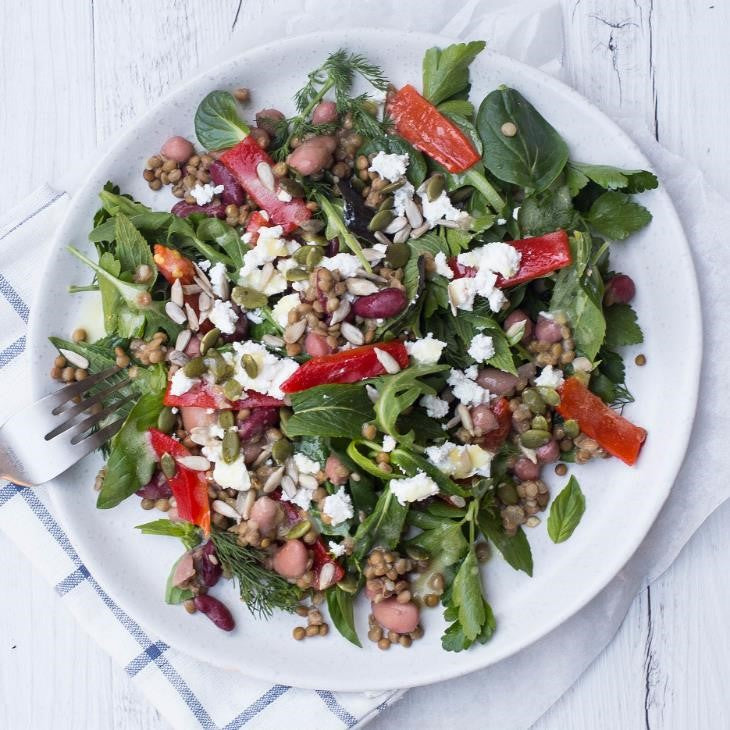 Wood Fired Capsicum, Baby Rocket & Lentil Salad With Crumbled Feta, Fresh Herbs & Lemon Vinaigrette