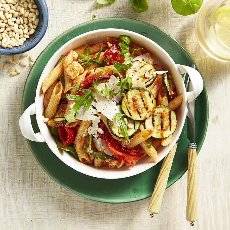 Wood Fired Capsicum, Zucchini, Fresh Chilli & Garlic Penne With Pine Nut, Crumbled Feta, Rocket & Pangrata