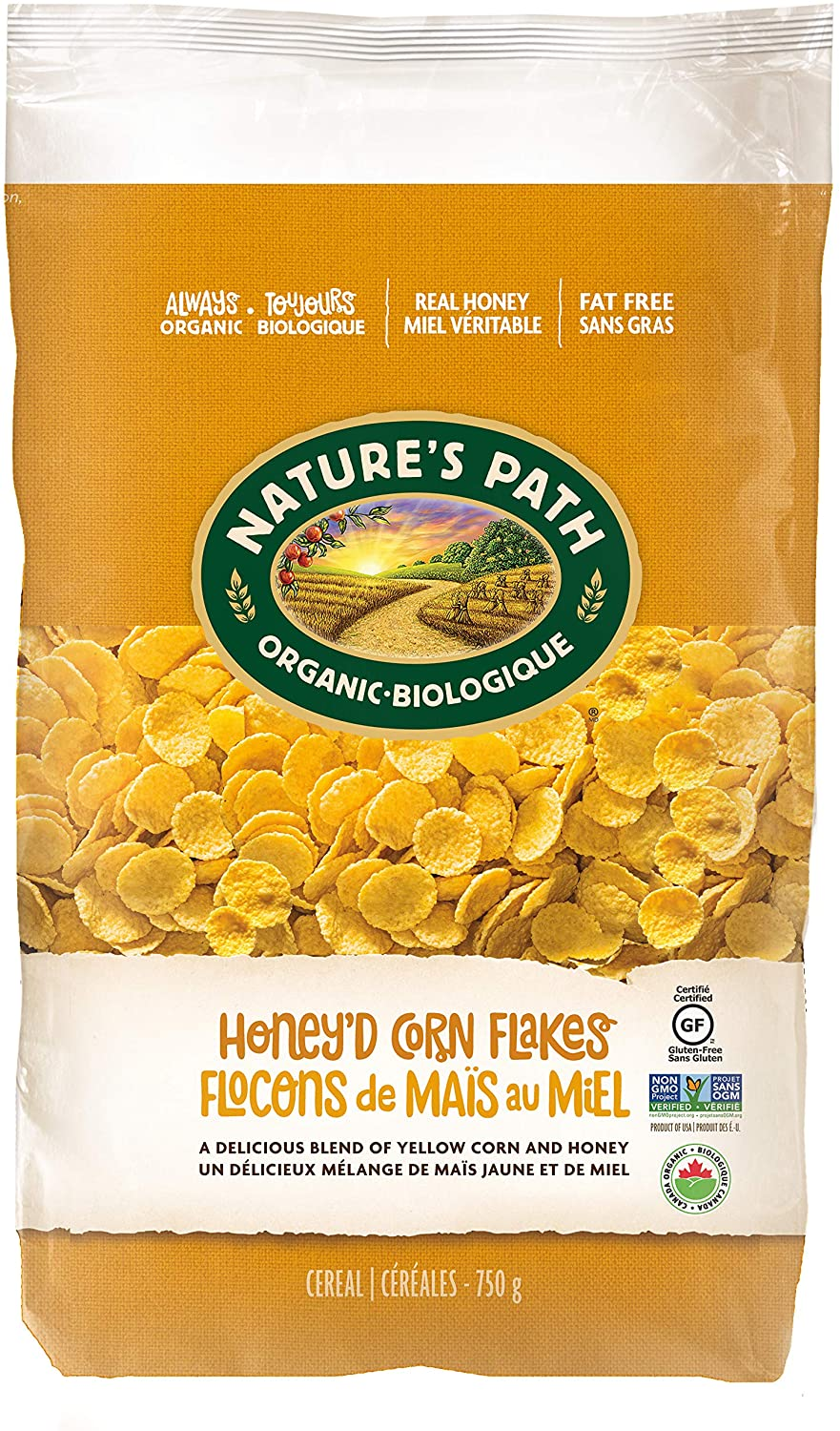 Nature's Path Ecopac Cereal Honey'd Corn Flakes - Gluten/Wheat Free (750g)
