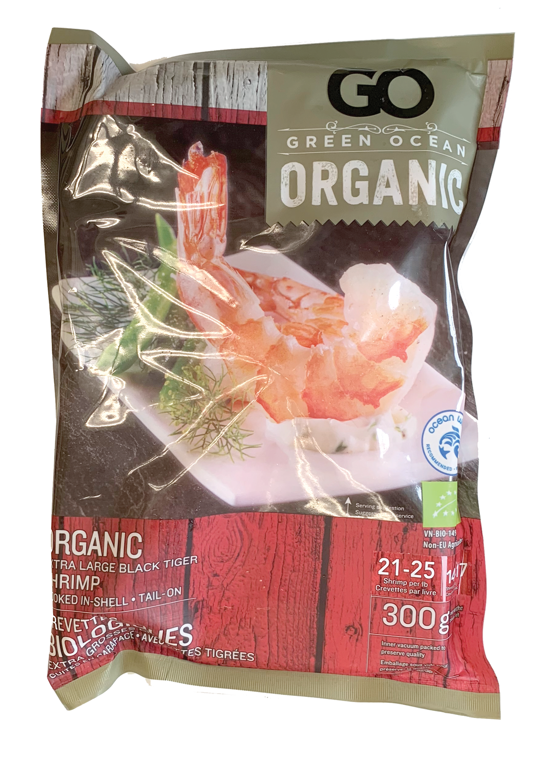 Green Ocean Organic CPTO Black Tiger Shrimp 21/25cnt Frozen (300g)