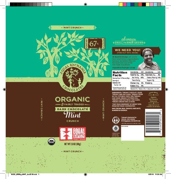 Organic Dark Chocolate Mint Crunch Bar 67%