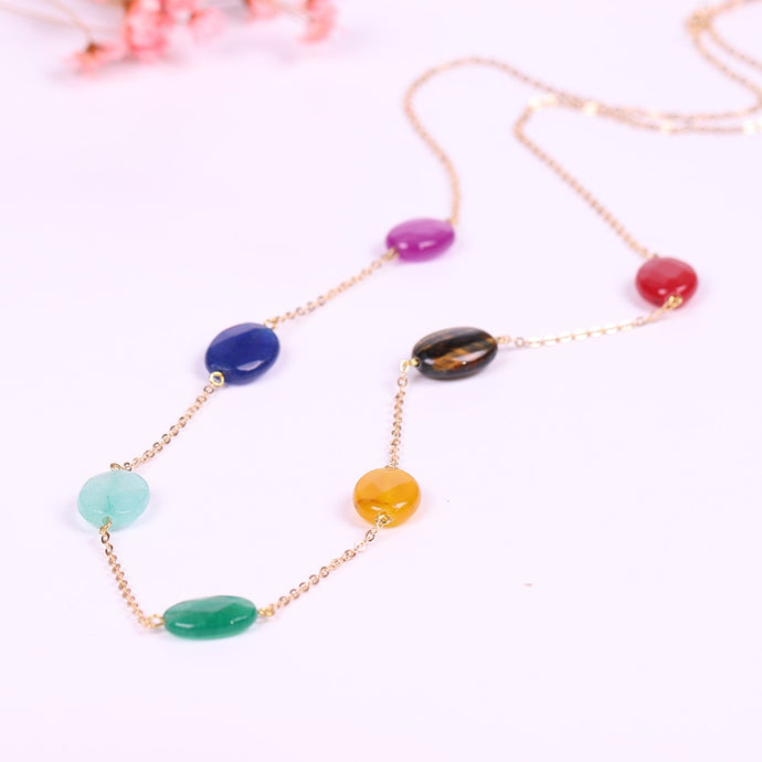 Natural Stone 7 Chakra Pendant Necklace