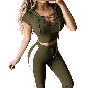 Women's High Waist Yoga Suit 2-Piece Fashion Black Lake Blue Dusty Blue ArmyGreen Dusty Rose Cotton Running Fitness Gym Workout Crop Top Sweatpants Clothing Suit Short Sleeve Sport Activewear