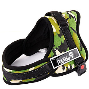 Dog Harness Padded Adjustable / Retractable Nylon Black Red Camouflage Color