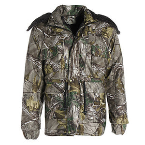 Men's Hunting Jacket with Pants Hunting Suit Camo / Camouflage Outdoor Thermal / Warm Waterproof Windproof Breathable Winter Fleece Cotton Elastane Winter Jacket Hoodie Jacket and Pants Top Camping