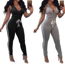 Load image into Gallery viewer, Women's Front Zipper Workout Jumpsuit Color Block Yoga Fitness Gym Workout Bodysuit Sleeveless Activewear Breathable Moisture Wicking Quick Dry Butt Lift High Elasticity Slim