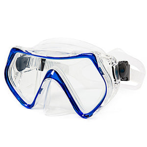 Diving Mask Anti Fog Two-Window - Diving Silicon Rubber - For Adults Blue / Dry Top