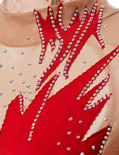 Load image into Gallery viewer, Rhythmic Gymnastics Leotards Women's Girls' Leotard Red Spandex High Elasticity Handmade Print Shading Long Sleeve Competition Dance Ice Skating Rhythmic Gymnastics Figure Skating / Training