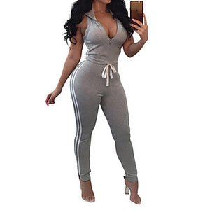Women's Front Zipper Workout Jumpsuit Color Block Yoga Fitness Gym Workout Bodysuit Sleeveless Activewear Breathable Moisture Wicking Quick Dry Butt Lift High Elasticity Slim