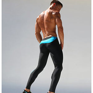 Men's Running Tights Compression Pants Elastane Patchwork Sports Compression Clothing Tights Running Fitness Gym Workout Exercise Breathable Quick Dry Sweat-wicking Color Block Green Blue / Skinny