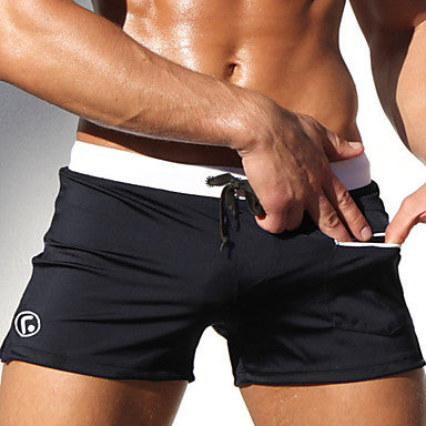Men's Swim Shorts Swim Trunks Board Shorts Breathable Quick Dry Drawstring - Swimming Diving Surfing Spring & Fall Summer / Micro-elastic