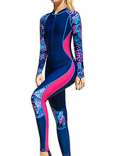 Load image into Gallery viewer, SBART Women's Rash Guard Dive Skin Suit Diving Suit SPF30 UV Sun Protection Breathable Full Body Front Zip - Swimming Surfing Snorkeling Patchwork Spring, Fall, Winter, Summer / Stretchy / Quick Dry
