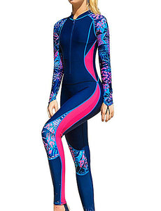 SBART Women's Rash Guard Dive Skin Suit Diving Suit SPF30 UV Sun Protection Breathable Full Body Front Zip - Swimming Surfing Snorkeling Patchwork Spring, Fall, Winter, Summer / Stretchy / Quick Dry