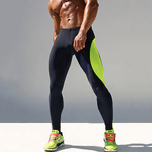 Load image into Gallery viewer, Men's Running Tights Compression Pants Elastane Patchwork Sports Compression Clothing Tights Running Fitness Gym Workout Exercise Breathable Quick Dry Sweat-wicking Color Block Green Blue / Skinny