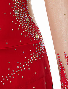 Rhythmic Gymnastics Leotards Women's Girls' Leotard Red Spandex High Elasticity Handmade Print Shading Long Sleeve Competition Dance Ice Skating Rhythmic Gymnastics Figure Skating / Training