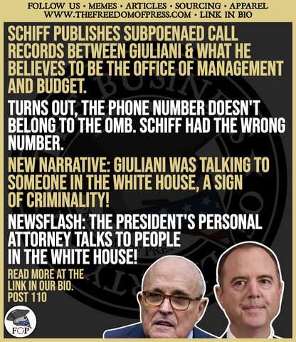 WRONG NUMBER, SCHIFF! WHITE HOUSE SAYS SCHIFF HAD WRONG NUMBER- GIULIANI NEVER CALLED THE OMB (#110)