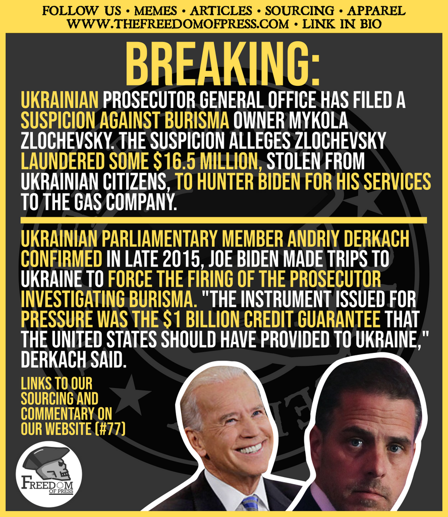 UKRAINIAN PROSECUTOR FILES NOTICE OF SUSPICION AGAINST BURISMA, IMPLICATES HUNTER BIDEN. PARLIAMENTARY MEMBER CONFIRMS JOE BIDEN EXERTED PRESSURE ON UKRAINE (#77)