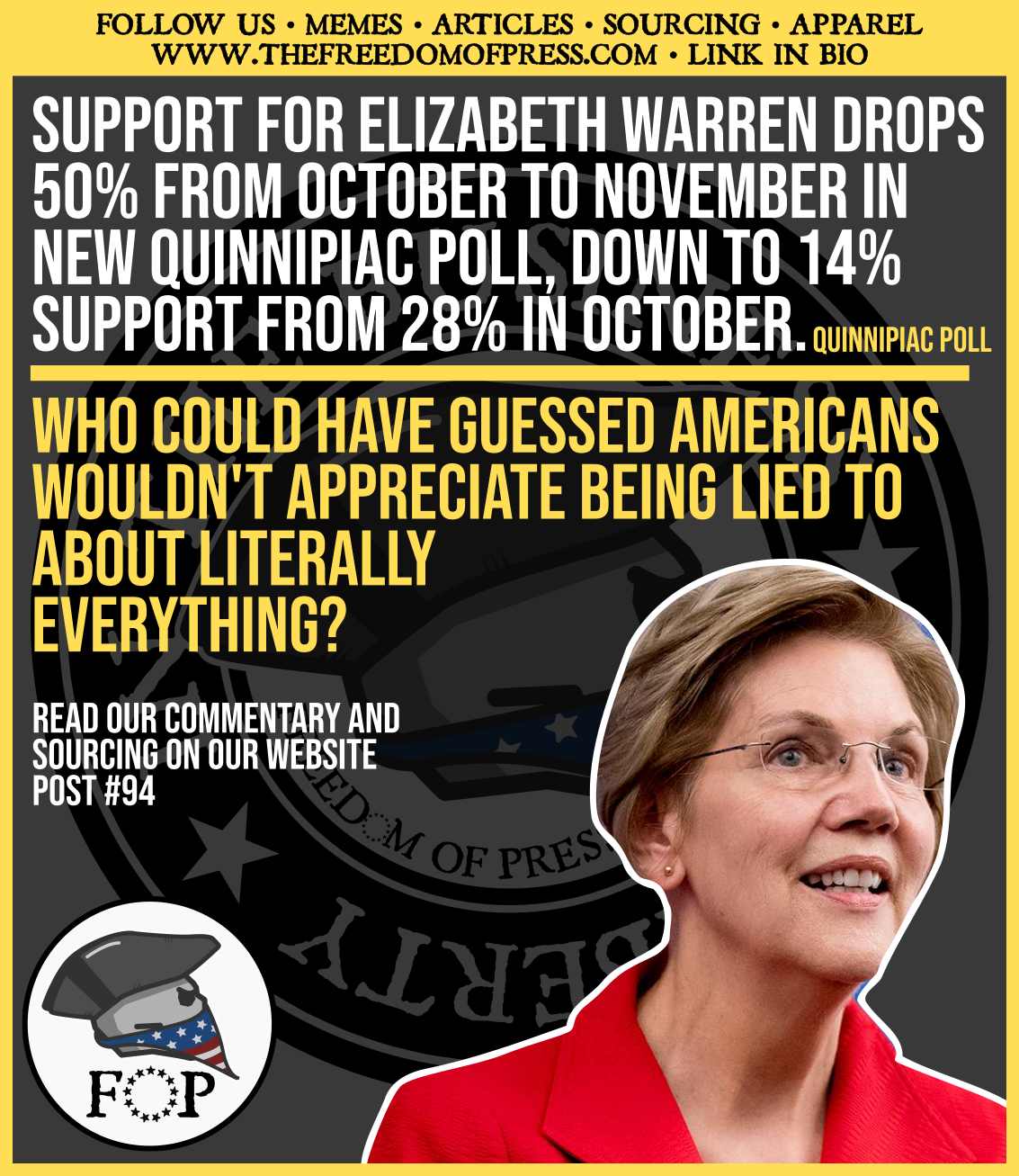 ELIZABETH WARREN AND MEDICARE FOR ALL BOTH TAKE A NOSEDIVE IN MOST RECENT QUINNIPIAC POLLING (#94)