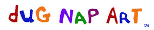 dug Nap Art logo - colorful, loose, handwritten