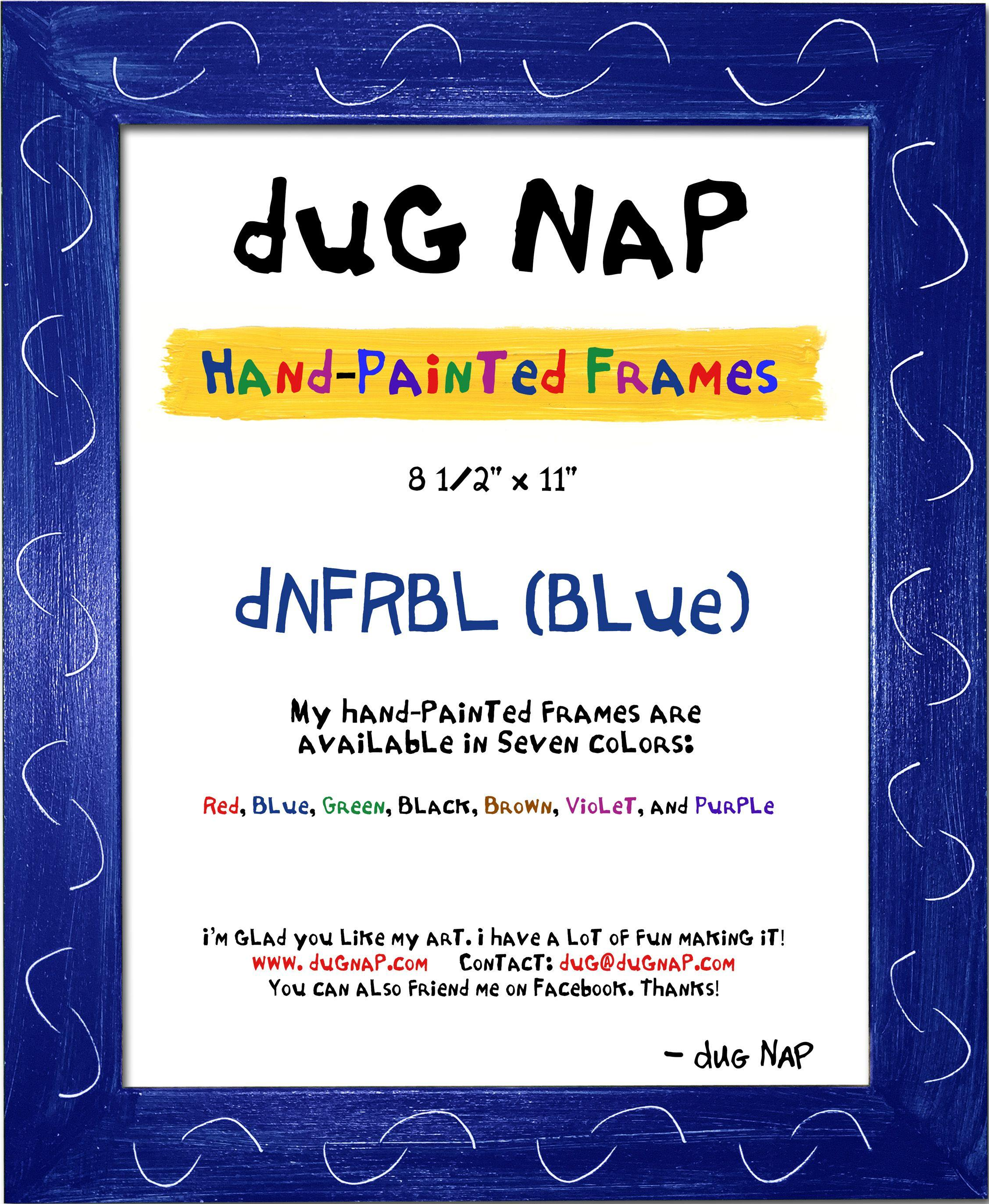 Hand-Painted 8.5 x 11 Frame - Blue - dug Nap Art