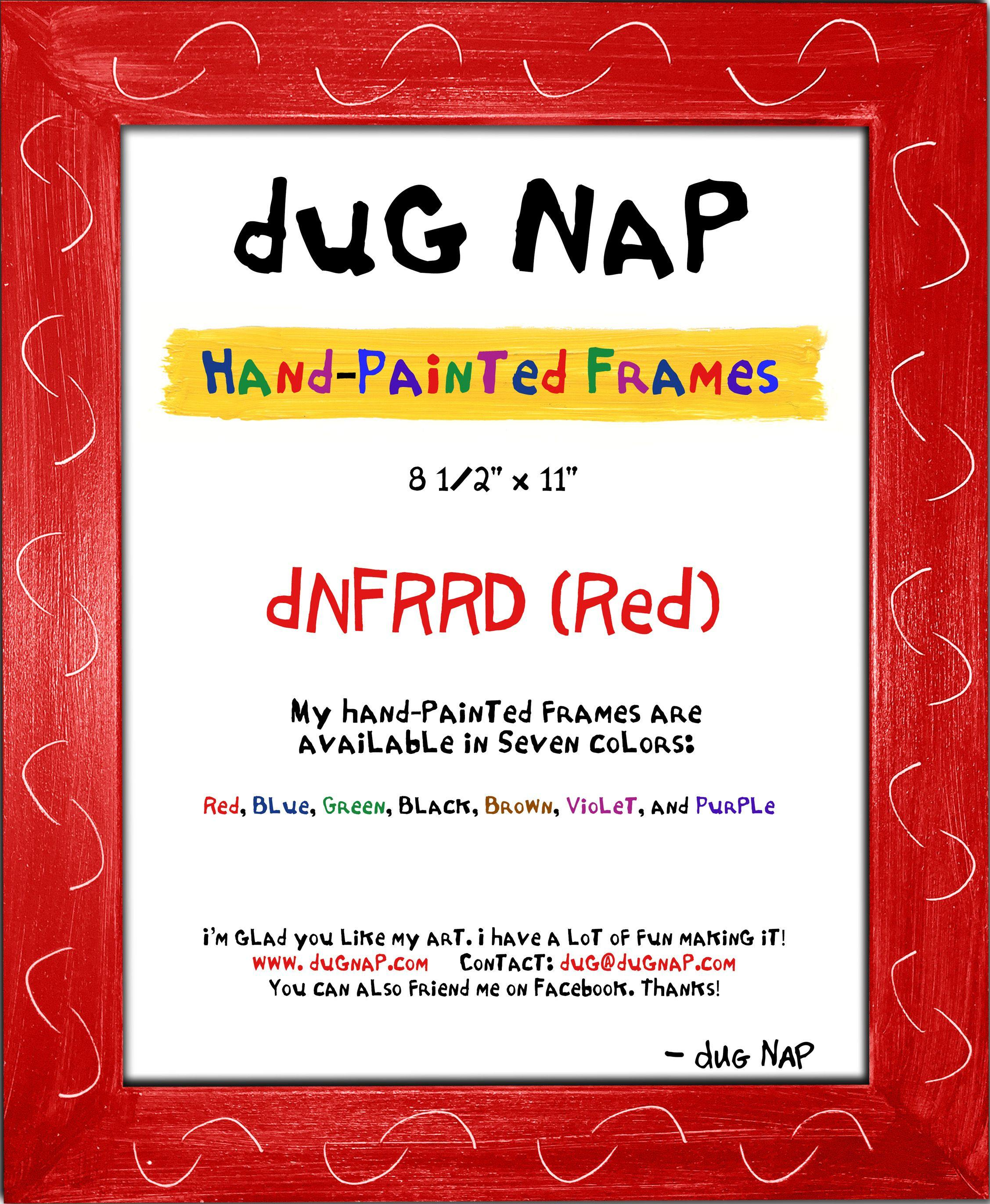 Hand-Painted 8.5 x 11 Frame - Red - dug Nap Art