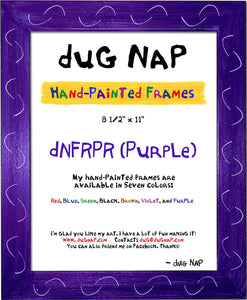 Hand-Painted 8.5 x 11 Frame - Purple - dug Nap Art
