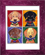 P681 - Four Dogs With Three Balls - dug Nap Art