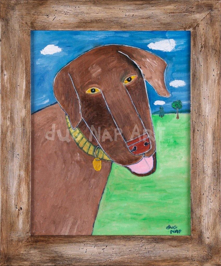 11X14 Brown Dog 1/1 Oil On Canvas Art