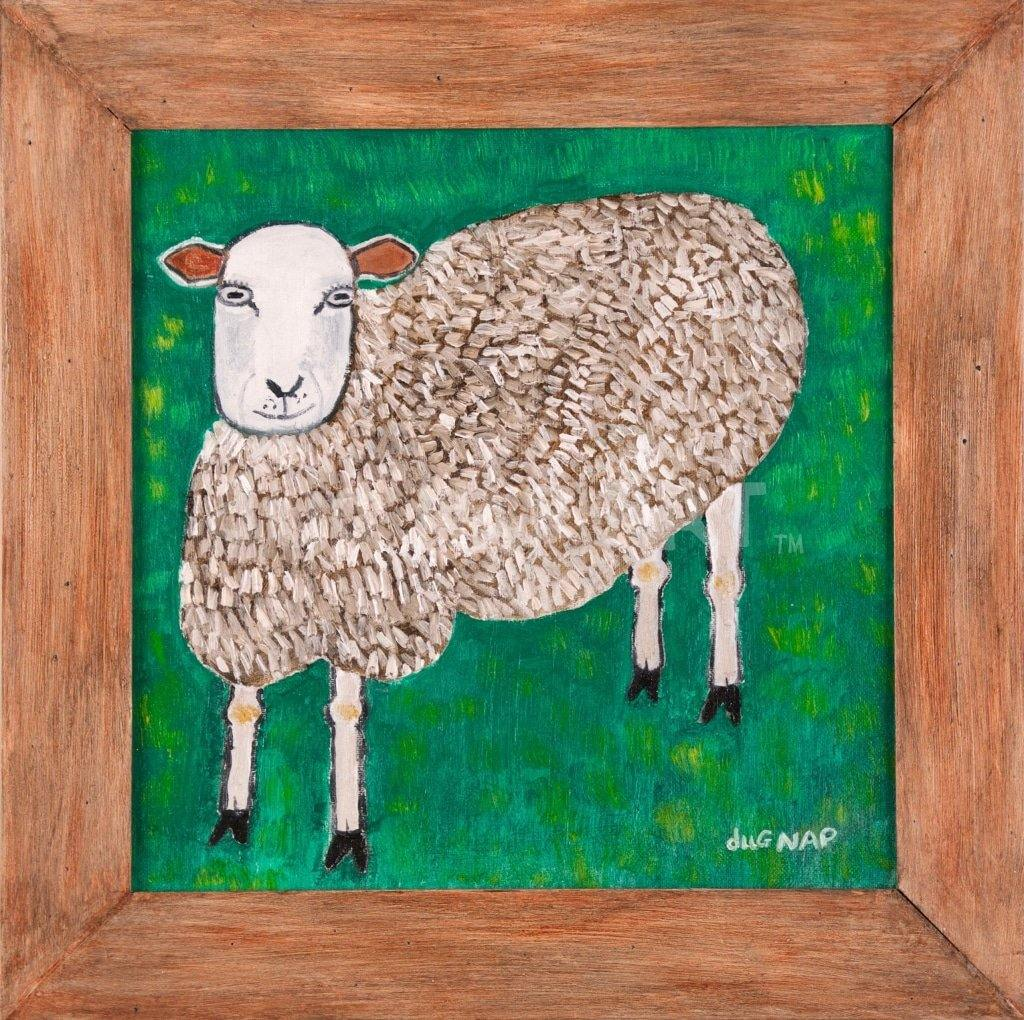 12x12 Sheep 1/1 Oil on Canvas - dug Nap Art