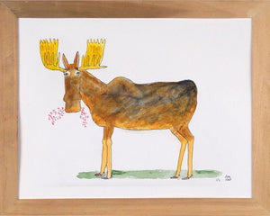 Moose Munching - 11x14 Watercolor and Pen on Paper - dug Nap Art
