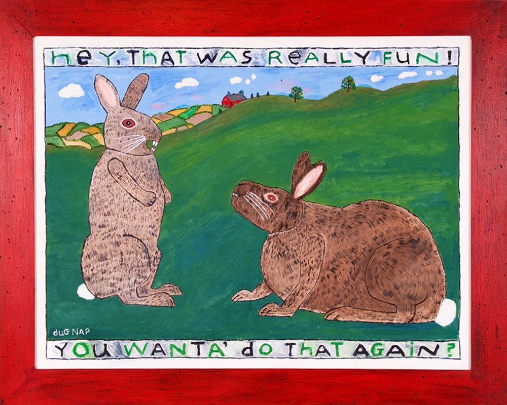 Rabbits Having Fun - 22x28 Oil on Board - dug Nap Art