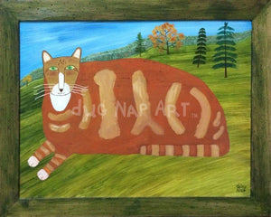 18x24 Orange Cat 1/1 Oil on Board - dug Nap Art