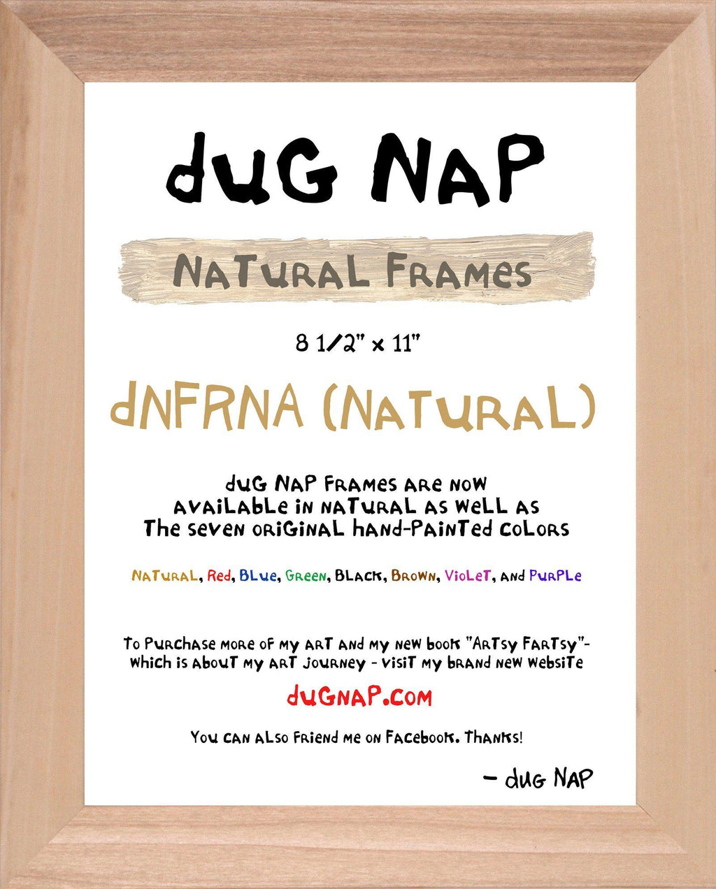 8.5 x 11 Frame - Natural - dug Nap Art